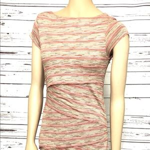 Bailey 44 Tiered Striped Column Dress Ran Red Med